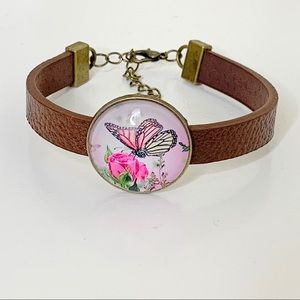 Handcrafted Glass Butterfly Leather Bracelet.